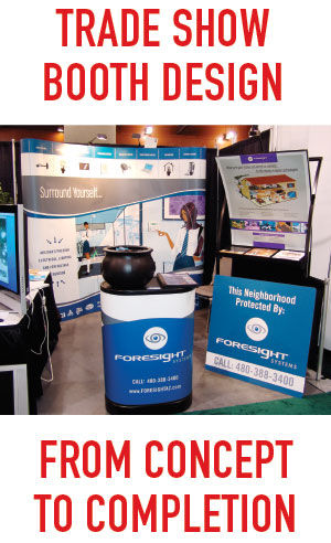 trade show themed graphics and display backdrops, custom interactive games. and more. Professional trade show design  company in Mesa, Gilbert, Chandler AZ