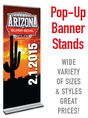 Discount pop-up banner stands in mesa, gilbert, chandler AZ. Professional graphics and printing company.