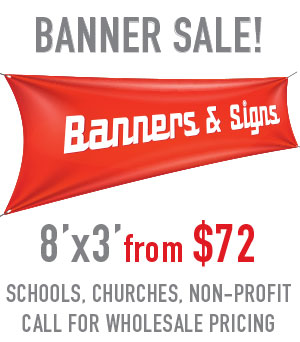 Discount banners and signs in Mesa, Tempe, Gilbert, Chandler AZ Tower Media Group, East Valley printing company over 25 years